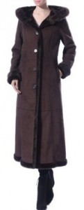 Faux Shearling Long Coat Faux Fur Trimmed Hood