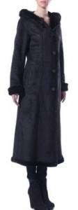 Womens-Faux-Shearling-Long Coat-Black-Faux-Fur-Trimmed-Hood